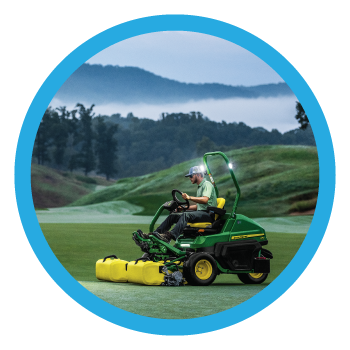 Course Equipment and Supplies Category Image - Man mowing field