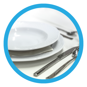 Facility Services Category Image - White Table Setting Inside Blue Border Circle